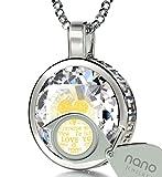 In argento sterling 925, con scritta I love you collana in 120lingue in oro 24K su zirconi pendente, 45,7cm–Nanostyle gioielli, Argento, colore: White, cod. 301-100EN_CZ_SILVER_16mm-RD_CR