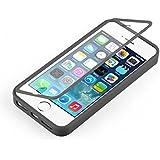 Coque iPhone SE, iPhone 5 5s coque à rabat transparent | JammyLizard | Coque anti choc silicone à rabat flip cover étui intégral pour iPhone SE, iPhone 5 5s, Noir