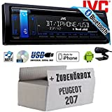 Peugeot 207 - JVC KD-R881BT - Bluetooth | CD | MP3 | USB | Android | iPhone Autoradio - Einbauset
