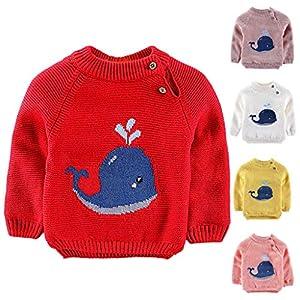 QinMM Dibujos Animados cetáceos suéter Bebé niña niño Jersey de Punto Tops Invierno otoño Ropa de Caliente Camiseta… 10