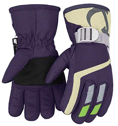Kinder Winter warm wasserabweisend Handschuhe für Skifahren/Snowboarden/Radfahren/Reiten Outdoor-Aktivitäten Kinder Handschuhe am besten für 3 bis 6 Jahre alt lila | 07777264949330
