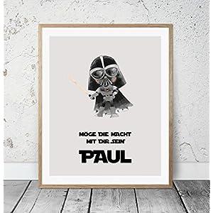 HEART OF PRINT Kinderposter Namensbild Star Wars Darth Vader - Geburtsdruck mit Wunschname für Jungen, Baby, Kind - Kunstdruck personalisiert, Geschenkidee zur Geburt, Taufe, Geburtstag; individuelles Geschenk, Taufgeschenk, Babygeschenk, Geburtsgeschenk als Poster oder Kinderzimmer Wandbild - ungerahmt