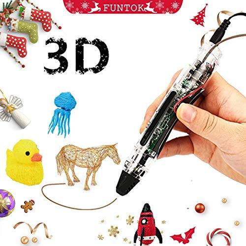 FUNTOK 3D Pluma Inteligente Pen, DIY Print pen Filament el regalo creativo para niños y adultos