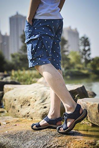Estate Nuove Scarpe Da Spiaggia Da Uomo Allaperto In Pelle Scarpe Casual Coreano Traspirante Sandali In Pelle Con Punta Smussata Baotou Blu Antiscivolo