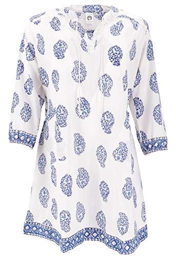 Guru-Shop Boho Tunika, Indische Blusentunika, Minikleid, Damen, Weiß/blau, Baumwolle, Size:XL (44), Blusen & Tunikas Alternative Bekleidung -
