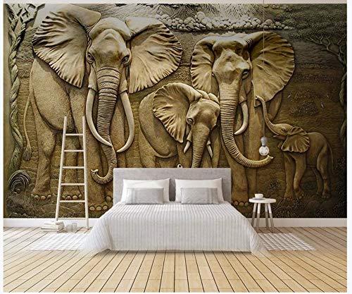 Elefanten Pj (Apoart 3D Wandtapete 3D Goldenes Entlastungs-Elefant-Hintergrund-Wandbild200Cmx140Cm)