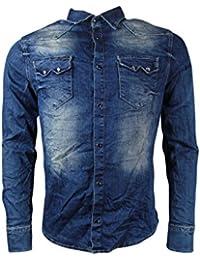 Jeanshemd - mit Schriftzug - blau