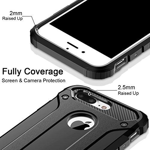 Cover iPhone 7, Custodia iPhone 7, Coolden Hybrid Tough Rugged Dual Layer Armor iPhone 7 Protezione Soft TPU Bumper Cover PC Rigida Heavy Duty Protettiva Cover Custodia per iPhone 7 (2016) - Rosso Nero