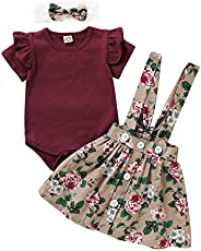 aby Girl Clothes Toddler Girl Ruffled Outfits Short Sleeve Grey Shirts Tops Bowknot Suspender Floral Shorts 2p