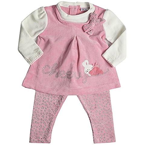Kinder Baby Mädchen Geschenk Kleidung Paket Set 2 tlg mit Geschenkbox Kleid Leggings 21126, Farbe:Rosa;Größe:9