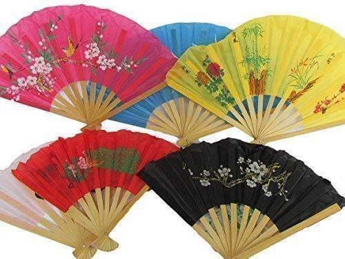 Japanisch Orientalisch Stoff (Fat-Catz-Copy-Catz - 5 x Quality Material Papier & Holz Chinesischer Japanischer Orientalische Geisha Burleske Dekorativer Fächer 35cm)