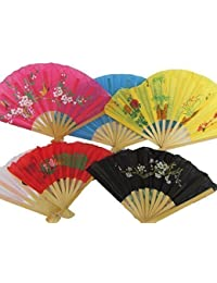 5x Quality Material & Wood Chinese Japanese Oriental Fancy Dress Burlesque Geisha Decorative Hand Fan 35cm span - posted from London by Fat-Catz-copy-catz