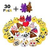 Zindoo Mini Emoji Porte Cles Lot de 30 Smiley Emoji Porte Clef, 6 cm Emoji Pendentif Sac Emoji Accessoire en Peluche, Mignon Émoticônes Caca Emoji Anniversaire Cadeau pour Enfants et Adultes