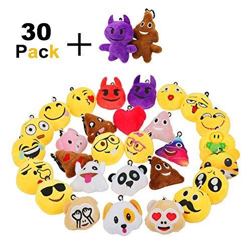 Zindoo 30 Mini-Spielzeug aus Plüsch Tasche Anhänger 6cm Kindergeburtstag Geschenke für Kinder, Party Geburtstag Anhänger Dekorationen Zubehör für Taschen und Rucksäcke