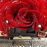 LONGYUCHEN Tapete Gewohnheit Des Wandbildes 3D Romantische Tapete Der Roten Rose Verwendbar Für Wohnzimmer Fernsehtapeten-Sofa-Hintergrundseidenwandgemälde,160Cm(H)×250Cm(W)