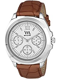 Watch Me Analog White Dial Brown Leather Strap Quartz Watch For Men And Boys WMAL-327men