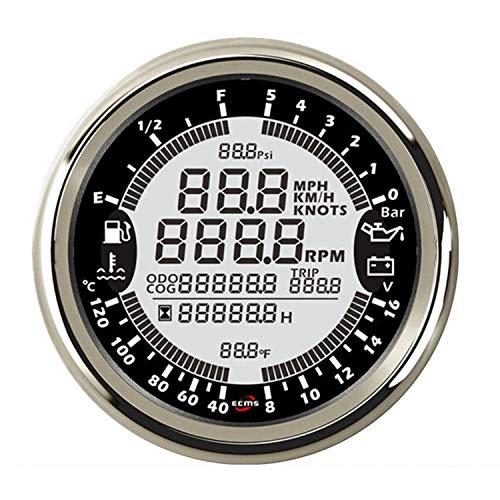 Kfz-Instrument 12 V 85mm 6in1 Multifunktionsanzeige GPS Tachometer Drehzahlmesser Stunde Wassertemperatur Kraftstoffstand Öldruck 5bar Voltmeter Intelligentes Messsystem