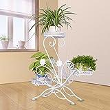 Maimai flower stand TD23 Mehrschicht-Schmiedeeisen-Blumen-Standboden-Topf-Gestell verstärktes hölzernes Wohnzimmer-einfaches nordisches kreatives fleischiges Grün (Farbe : Weiß)