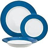 Luminarc Everarty Loft - Vajilla, color Blanco y Azul