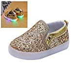Zapatos LED Zapatos ligeros de los niños, Stillshine - Niños Niños Chicas Lovely LED Zapatos Zapatillas de Halloween Regalo de Navidad (21, Oro)