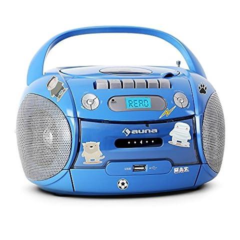 auna Boomboy Ghettoblaster Kassettenplayer (Sticker-Set, CD-Player, UKW-Radio, MP3-fähiger USB-Port, Netz-/Batteriebetrieb,
