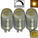 3 Stück - G4 LED 1,5 Watt mit 1x COB Winkel: 120° dimmbar WARMWEIß 12V DC 110lm~ 10W Stiftsockel Leuchtmittel Lampensockel Spot Halogenersatz Lampe Aluminium / ALU