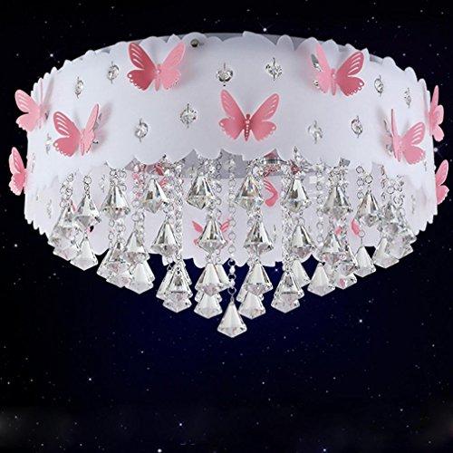 Modern Deckenleuchte Kristall Anhänger Prinzessin Mädchen Kinderzimmer Warm Romantische Hochzeit Zimmer Schlafzimmer Schmetterling Deckenlampe Runde Acryl Metall Dekorativer Deckenbeleuchtung 3*E27 , Ø60cm*H38cm (Glas-decke-anhänger)