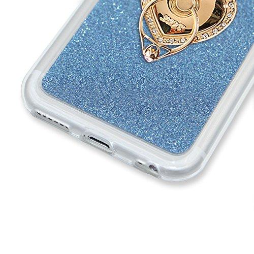 Für iPhone 7 Plus 5.5 Zoll Ultra Dünn Silikon Tasche,Für iPhone 7 Plus 5.5 Zoll Bling Glitter Schutz Hülle mit Liebe Herzen Ring Halter,Funyye Luxus [Herzen Ring Gold Gradient Farbe] Sparkles Glänzend Ring Holder #7
