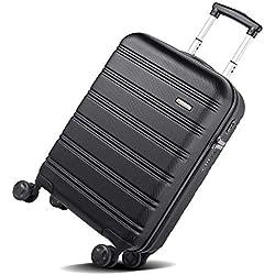 REYLEO Valise de Voyage à 8 roulettes 360°, 2 USB Port,Cadenas TSA,Valise en ABS,Légère, Antichoc, Résistant aux Rayures, Noir, 35 * 20.5 * 55cm- 20A