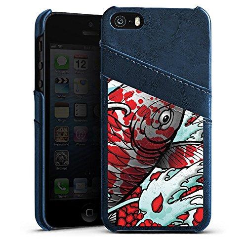 Apple iPhone 4 Housse Étui Silicone Coque Protection Carpe koi Mai Koi Art Étui en cuir bleu marine