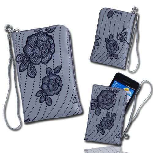 Handy Tasche grau U3 für HTC Incredible S / ChaCha / Radar / Wildfire S / Salsa / Desire S / Gratia / HTC 7 Mozart / HTC Trophy / Desire Z / Wildfire / Desire / HD Mini / Legend / Smart / Tattoo / Hero