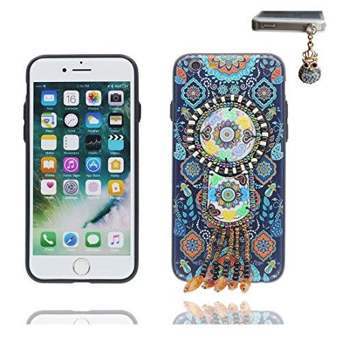 """iPhone 7 Plus Coque Cover, 3D fleur Bead accessoire, TPU Unique Designed Style national iPhone 7 Plus Étui iPhone 7 Plus Case 5.5"""" Poussière Poof & Bouchon anti-poussière Beautiful # 4"""