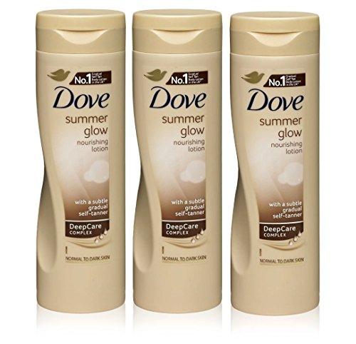 Dove summer glow – crema per il corpo per pelli da normali a scure, 3 pz, 250ml