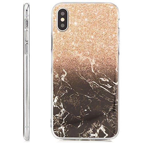zanasta iPhone X Hülle Silikon Case Schutzhülle Ultra Slim Back Cover mit Motiv Marmor-Ornament Braun-Hellbraun