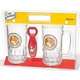 United Labels 117605 2-teiliges Biergläser Set mit Öffner -Simpsons - jeweils 540 ml