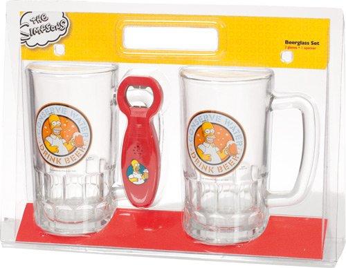 """United Labels 117605 - Set di 2 boccali da birra """"The Simpons"""" con apribottiglie, 2x 540 ml"""