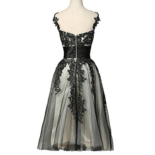 Bridal_Mall -  Vestito  - linea ad a - Senza maniche  - Donna Nero