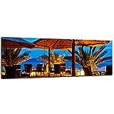 Wandbild - Pebble Beach Kroatien Sonnenschirm - Bild auf Leinwand - 120x40 cm 3tlg - Leinwandbilder - Urlaub, Sonne & Meer - Adria - Strand - Palmen