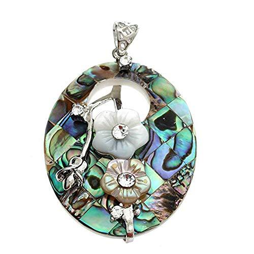 ff0620b2b35 ZYCX123 Collier avec pendentif ovale Fleurs creux Paua Abalone Pendentif  Shell Perle Bijoux