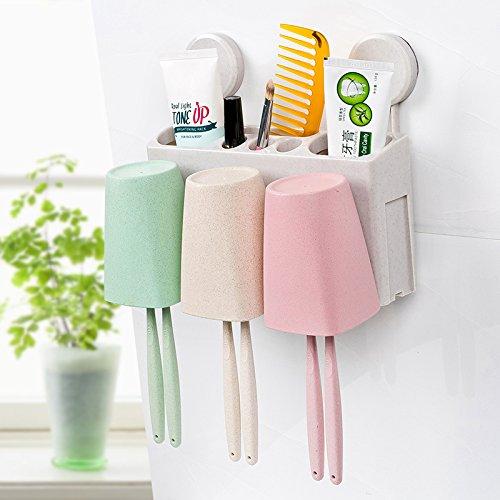 YASHUAJIA 2/3 / 4Racks Staubgeschützter Wand-Zahnbürstenhalter mit Mundwasserbecher - Für den Badezimmer-Familienhalter, für Erwachsene und Kinder, 3 Racks