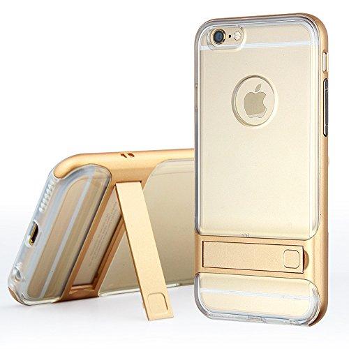 BCIT iPhone 6 Custodia - ibrida Morbido resistente agli urti + Bumper Frame Dual Layer Case con Supporto di protezione per iPhone 6 - Trasparente Blu Trasparente & Oro