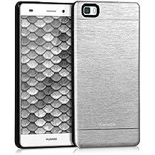 kwmobile Funda para Huawei P8 Lite (2015) - Cover trasero para móvil de aluminio - Case duro plata