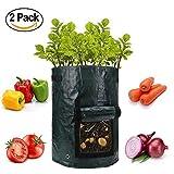 Lychee® Sacchetto di piantatura patata 2-Pack 10 Gallon, 35cm x 45cm Patate Grow Borse,aerazione Tessuto Pentole / Borse PE per coltivare patate, carote e cipolla