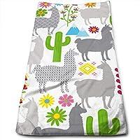 ewtretr Toallas De Mano, Llama Pattern Multi-Purpose Microfiber Towel Ultra Compact Super Absorbent
