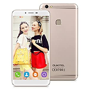 OUKITEL U15S 5.5 inch 4G Android 6.0 MT6750 Octa Core 4G RAM+32G ROM 13.0MP Camera Unlocked Smartphone IPS HD Screen Dual SIM Metal Cover Mobile Phone Fingerprint HotKnot Cellphone GPS(Gold)