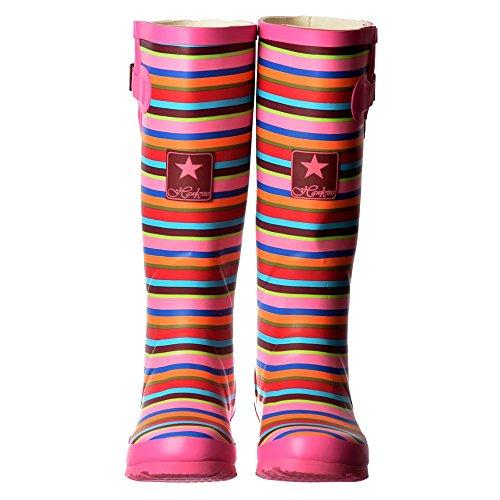 Senhoras Onlineshoe Botas De Chuva Rosa Stripe / Borgonha