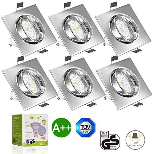 Ojo de buey LED cuadrado 6w luz cálida - Pack de 6