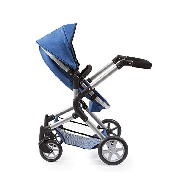 Bayer Design 18135AA City Neo Doll's Pram with Bag and Underneath Shopping Basket, Blue Bayer Design dimension: 82 x 38.5 x 79 cm suitable for dolls up to 52 cm adjustable handle height: 59 - 79 cm 6