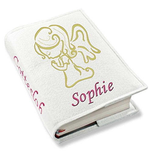 Gotteslob Gotteslobhülle Engel Tattoo gold Filz mit Namen bestickt hellgrau grau dunkelgrau lila blaugrau (weiß)