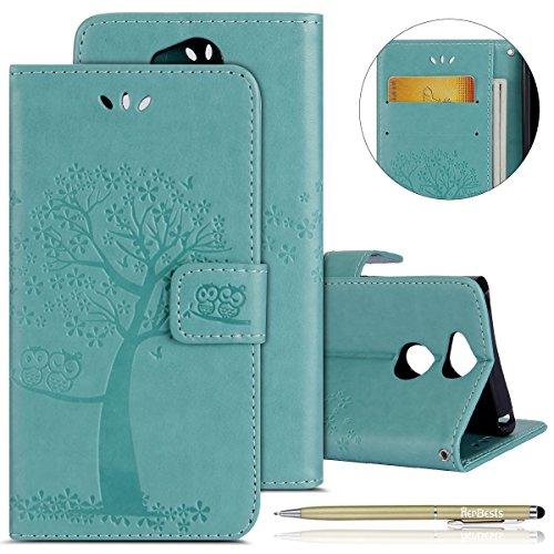 Kompatibel mit Handy Tasche Sony Xperia XA2 Lederhülle Dünn Leder Tasche Kunstleder Schutzhülle Bookcase Klapphülle Eule Baum Vintage Muster Handyhüllen Handy Flip Case Kartenfach,Grün